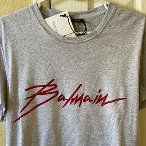 Balmain grey Tshirt glitter logo size L